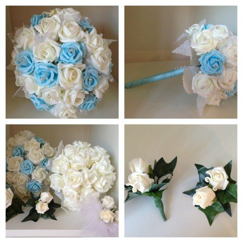 Artificial flowers baby blue white flowers mightylinksfo