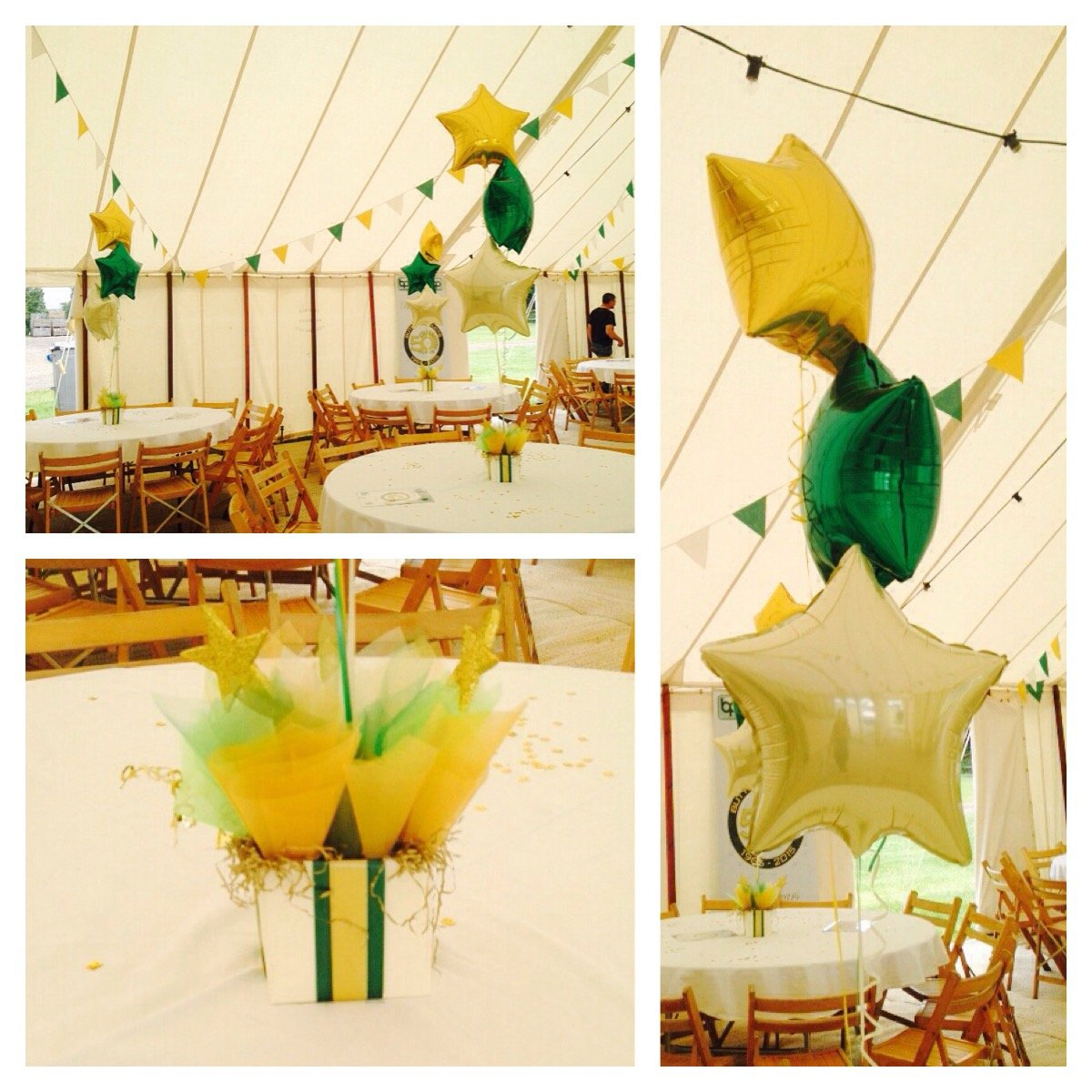Party balloons at Barleylands Craft Village in marquee