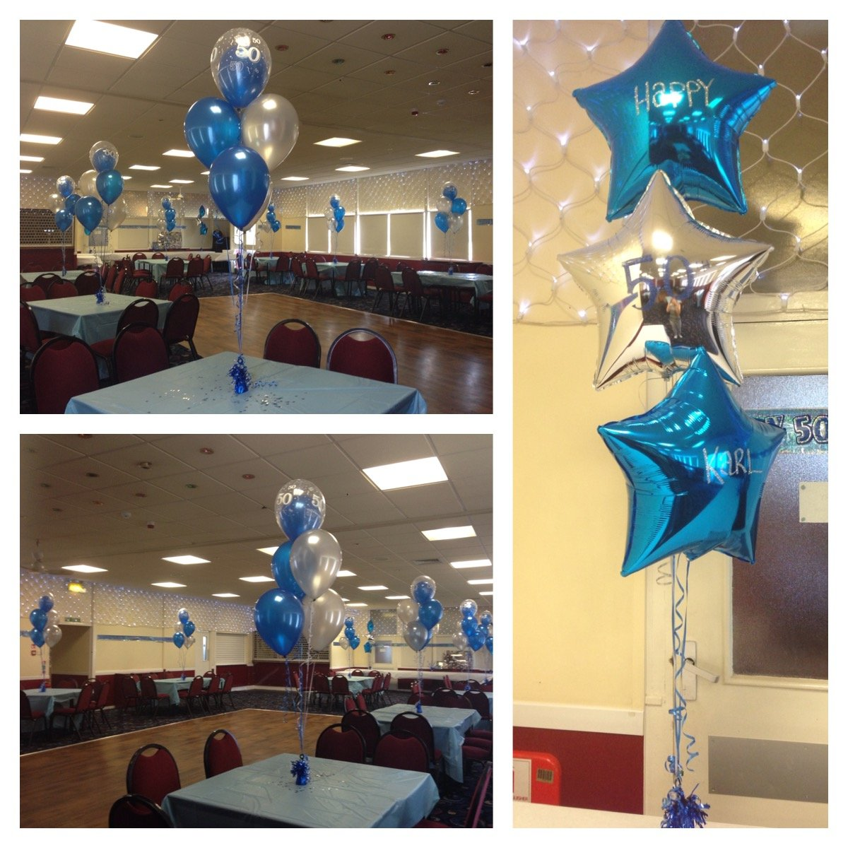 50th Birthday balloon bunches and personalised balloons at Fords Sports and Social Club
