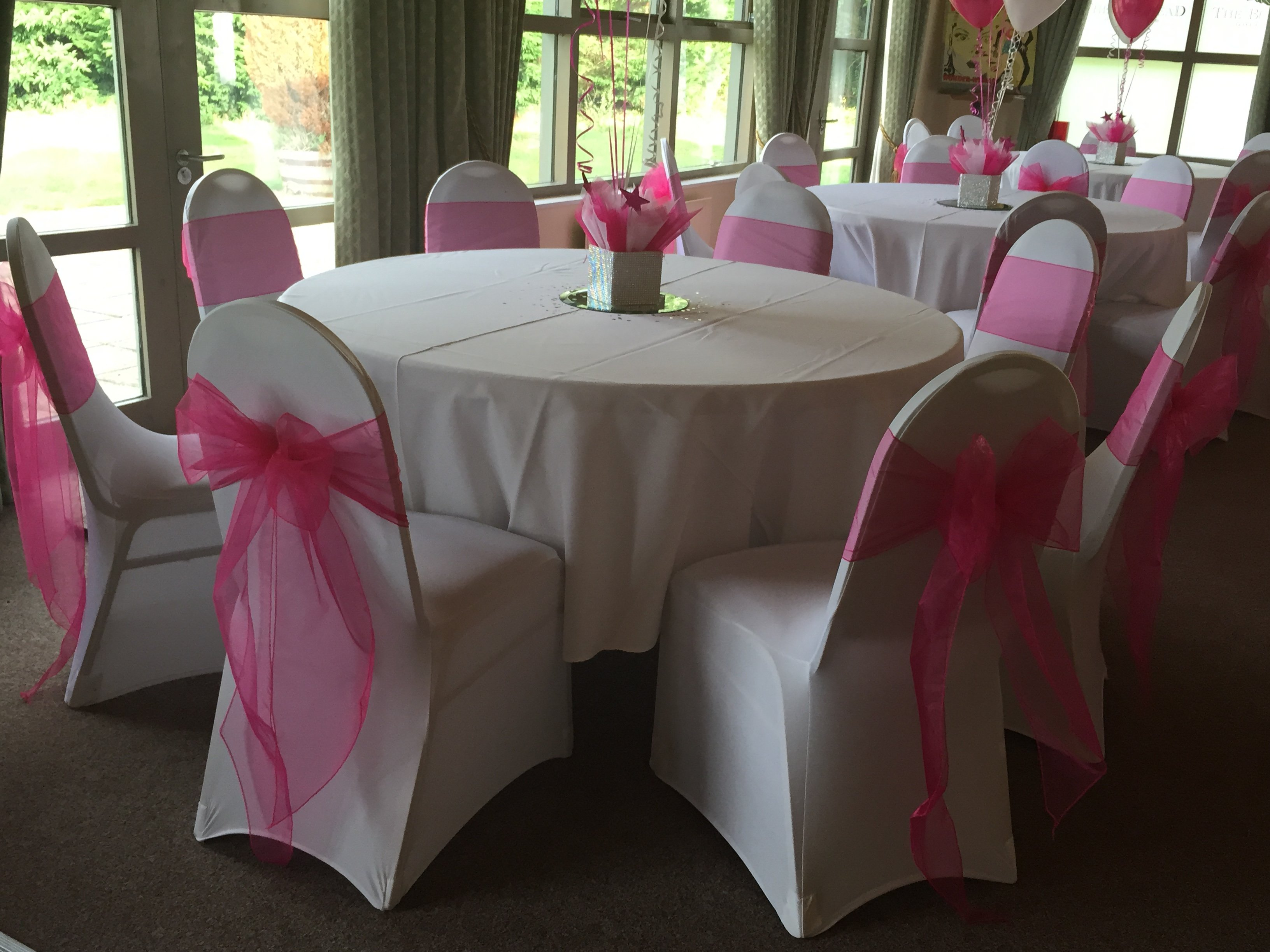 White chair covers with white sash - Pink Organza Sash With White Lycra Chair Covers At Burstead Golf Club