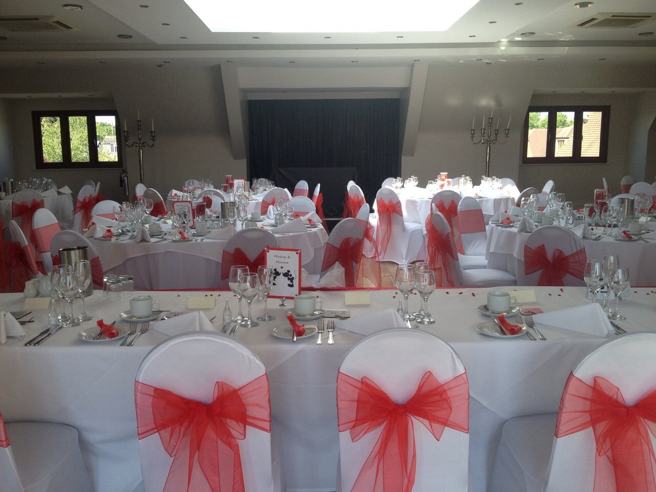 White chair covers with white sash - Red Organza Sashes And White Lycra Chair Covers At The Rayleigh Club