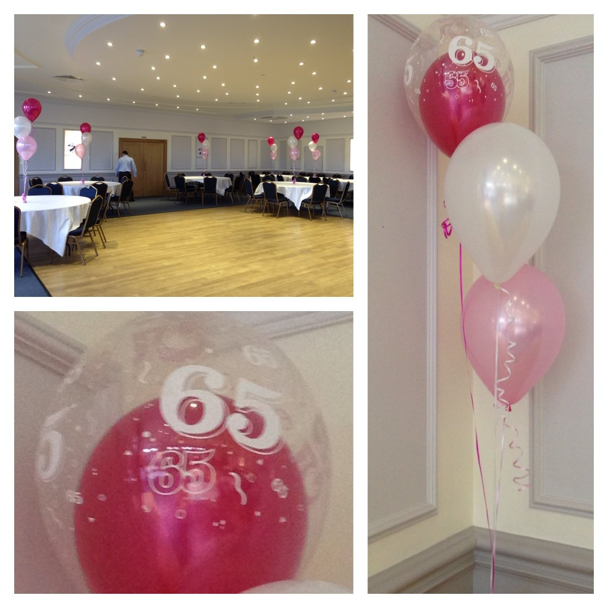 65th Birthday balloons at Saxon Hall